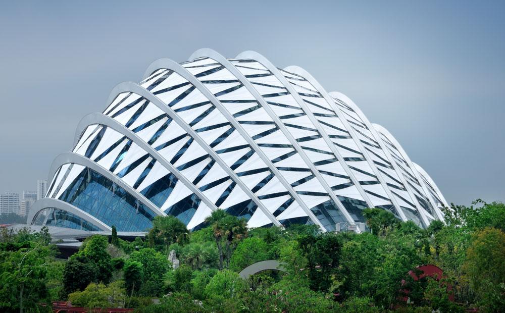 על אי מלאכותי במרכז סינגפור נפתח פרויקט ''גנים על המפרץ'', שמכיל שתי כיפות עצומות - החממה הגדולה בעולם. האתגר ההנדסי של כיפות תמיד ריתק מהנדסים ואדריכלים (צילום: tristan tan / shutterstock)