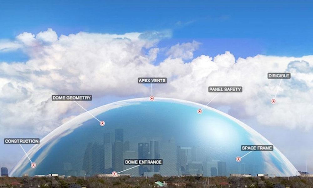 לכסות את יוסטון בכיפה? הרעיון המופרך הזה (הבה נזכור שגם טיסה לירח נשמעה מופרכת פעם) נמצא על הפרק עקב תנאי האקלים הקיצוניים בעיר, שהיא פולטת גזי החממה המובילה בארה''ב