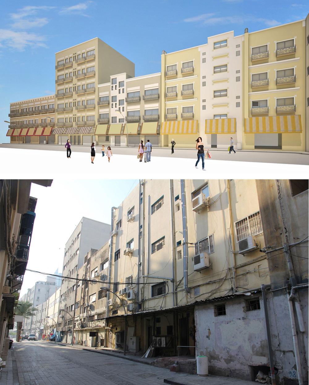 שיפוץ החזיתות ברחוב העצמאות בחיפה (מצב כיום והדמיית השיפוץ). התהליך נעשה בשיתוף בעלי הנכסים ובמימונם (באדיבות אוג'י אדריכלים)