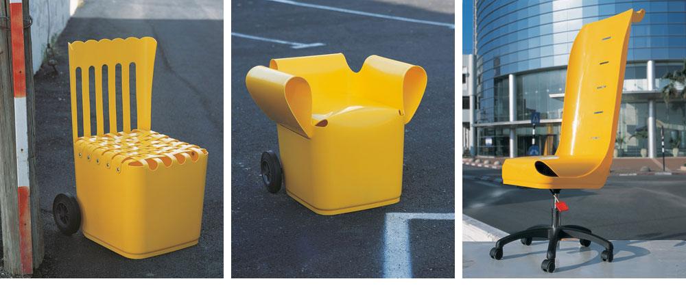 מושבים מפחי זבל. ''הפכנו את הפח ממוצר לחומר גלם, שאפשר להשתמש בו''. חיריה הזמינה כסאות כאלה למרכז המבקרים החדש שלה (צילום: ליאת פז)