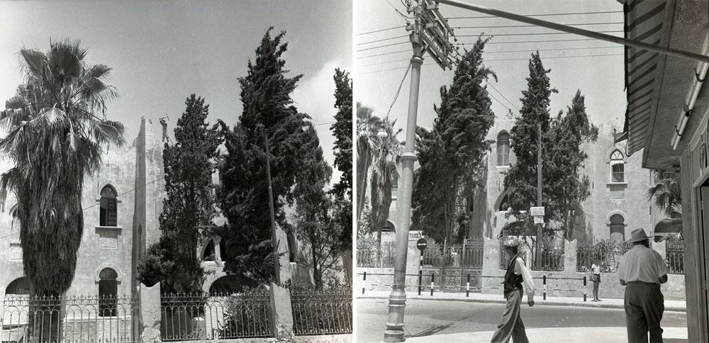 וזו הגימנסיה ''הרצליה'', שנמחתה מעל פני האדמה ב-1959. ''האם זה היה מחזה מחריד?'' כתב העיתונאי אורי קיסרי, והשיב: ''היה בו משהו רע מזה: זה היה מחזה מביך'' (צילום: בוריס כרמי / אוסף מיתר בעמ)