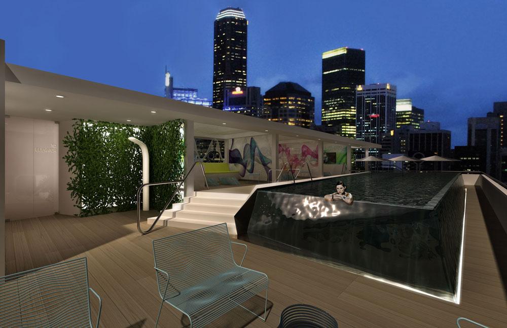 נתראה בבריכה על הגג, אם יכניסו אותנו. הדמיית קומת הגג של מלון סר בנג'מין (הדמיה: Sir Benjamin Tel Aviv designed by Karim Rashid)