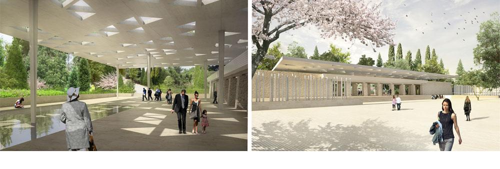 הפרויקט הזוכה: רצף עמודים בקדמת רחבת הכניסה החיצונית, תוך שימור השערים הקיימים. גג שמעניק פתרון לרחבה ולכיכר (באדיבות עמותת האדריכלים וההסתדרות הציונית העולמית)