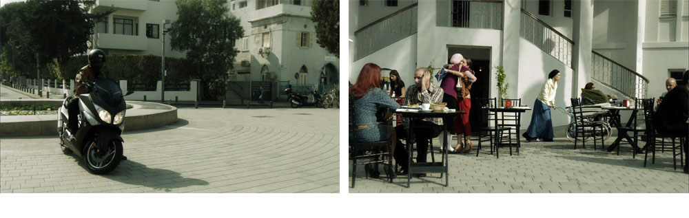 בסדרה: ניסיון החיסול של נעמי כפית. במציאות: חזית ''בית העיר'' ברחוב ביאליק בתל אביב. ''הייתה דרישה שבסוף הסצינה עגלת התינוק תיפול במדרגות וכך נבחר הלוקיישן, רק הצבנו כסאות ושולחנות, שייראה כמו בית קפה'' (צילום: רם שוויקי  )