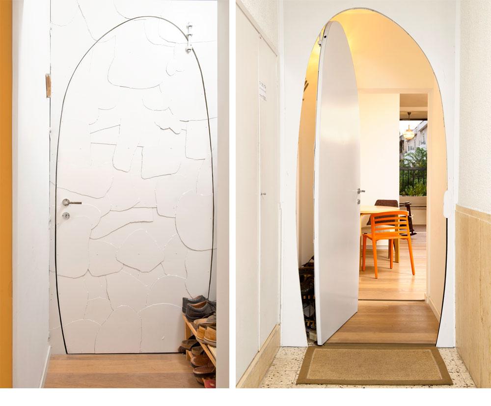 המקום: כפר סבא. מטראז': 110 מ''ר. אדריכל: מני רוזנברג. דלת הכניסה לבית לא שגרתית (מימין - מבחוץ ומשמאל - מבפנים). היא מעוגלת ובנויה מיריעות של ברזל שנצבע לבן (מסגר: יניב ליאור) (צילום: דורון עובד)