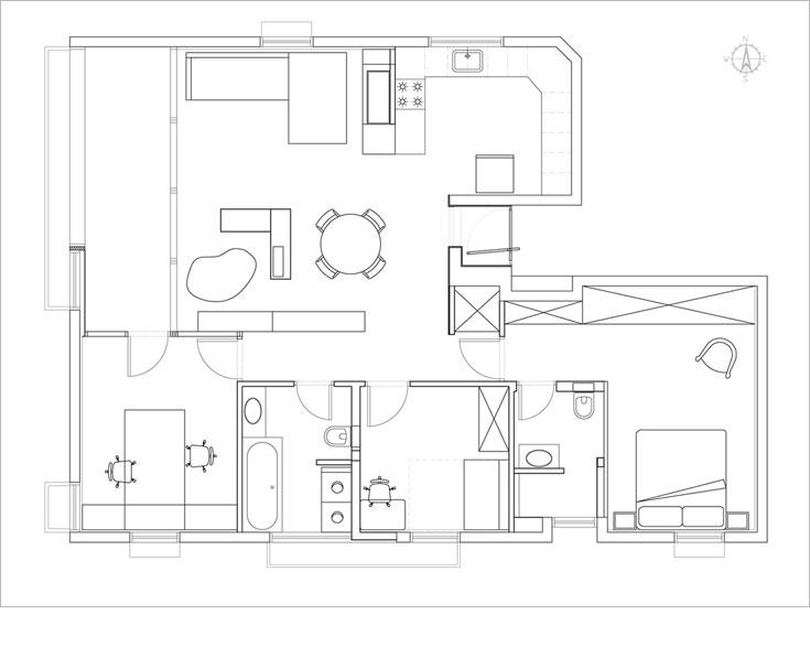 תוכנית הדירה, ''אחרי''. חדר אחד ''הוכנס'' לתוך חלל הסלון, שהקיר המפריד בינו ובין המטבח הוסר. לעומת זאת, הוגדרה מרפסת סגורה בהמשך לסלון (תכנית: אדריכל מני רוזנברג)