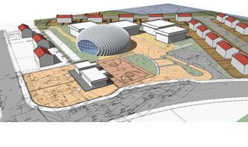 אולם הספורט בצופים (תכנון: מוטי בודק אדריכלים)