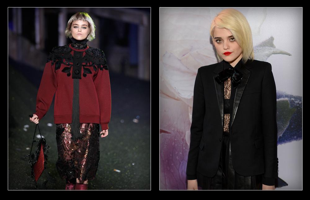 """סקיי פררה על השטיח האדום (מימין) ובתצוגת האופנה של מארק ג'ייקובס. """"אנשים מתעשיית המוזיקה מנסים לשנות אותי, כי הם אומרים שאופנה זה מקום רדוד, בעוד אנשים מתעשיית האופנה רוצים אותי בדיוק בגלל מי שאני והמקום שממנו אני מגיעה"""" (צילום: gettyimages)"""