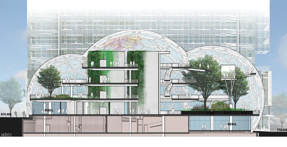 עיצוב הקומות הנמוכות בבניינים ייעשה באופן דומה לאיכויות החזיתות של מבנים שכונתיים: חלונות נפתחים, חנויות, מסעדות, וסביבות עבודה מגוונות (הדמיה: NBBJ)