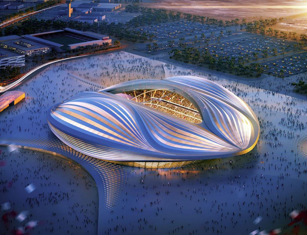 אצטדיון אל-ווקרא, שבו ייערך גמר מונדיאל 2022 בקטאר. הוא נמצא כ-15 קילומטרים מדוחא, בירת הנסיכות (הדמיה: Zaha Hadid Architects)
