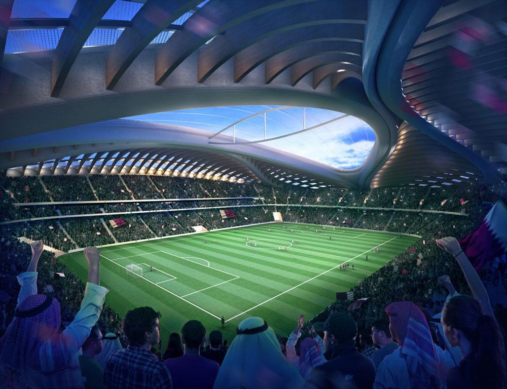 40 אלף אוהדים ייכנסו לאצטדיון, שהגג שלו מורכב מארבעה מסבכי-ענק מחוברים שיוצרים במבט ממעוף הציפור את האזכור הנשי (הדמיה: Zaha Hadid Architects)