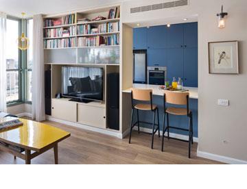 בין הסלון למטבח ספרייה ודלפק פתוח (צילום: שי אפשטיין)