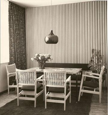 גד עיצבה את כל הרהיטים, המנורות ופריטי הטקסטיל בבית (מתוך ארכיון דורה גד, החוג לעיצוב פנים, המסלול האקדמי המכללה למינהל)