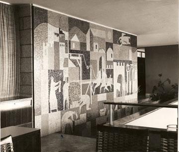 עבודת הפסיפס של צבי גילת (מתוך ארכיון דורה גד, החוג לעיצוב פנים, המסלול האקדמי המכללה למינהל)