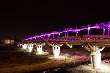 גם הגשר לנוה נוי מואר בצבעים מתחלפים (צילום : אביעד בר נס )