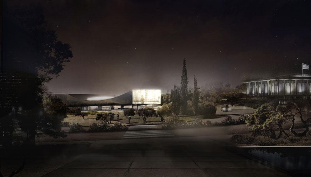 הדמיה של מראה הספרייה בשעות הלילה. הגג הקעור שמעל אולם הקריאה הראשי זוהר בזכות אליפסה של זכוכית חלבית (באדיבות הספרייה הלאומית)