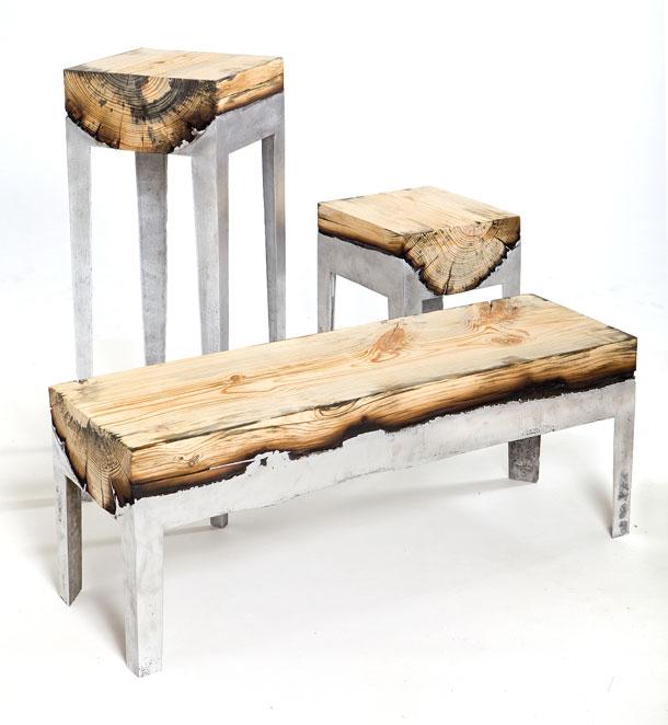 רהיטי העץ והאלומיניום של הילה שמיע (צילום: דן לב)