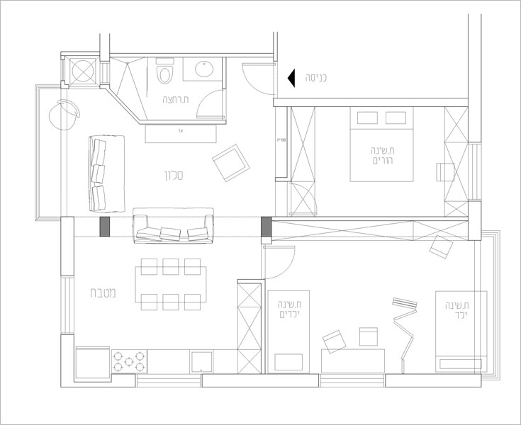 תוכנית הדירה, ''אחרי'': שני חדרי השינה וגם מרחב הסלון והמטבח גדלו (תכנית: דלית לילינטל)