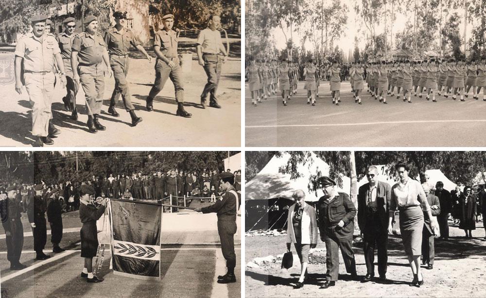 """בשורה העליונה: טקס סיום טירונות ב-1968 (מימין), ביקור ראש אג""""ם, האלוף עזר ויצמן (צועד במרכז), באחת משנות ה-60 של המאה הקודמת. בשורה התחתונה: ביקור אורחים מאמריקה (שנות ה-60, מימין), טקס סיום ב-1960 (מתוך אתר ההנצחה ומורשת הנח""""ל)"""