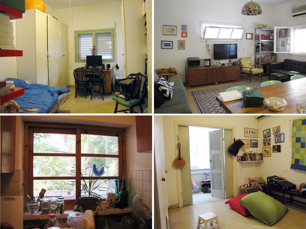 תמונות הדירה, ''לפני'': למעלה מימין הסלון, משמאל חדר ההורים, ולמטה חדר הילדים וחלון המטבח הישן, שפנה למרפסת שירות סגורה (באדיבות דלית לילינטל)