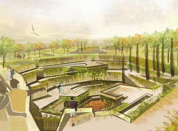 שילוב של פארק עירוני (למעלה) ומתחמי קבורה (למטה). פרויקט הגמר של אדריכלית הנוף מרינא פרחומובסקי מהטכניון (באדיבות מרינא פרחומובסקי)