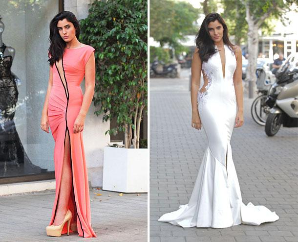 שמלות בעיצוב אפרת קליג. משמאל: השמלה הלאומית (צילום: שוקה כהן)