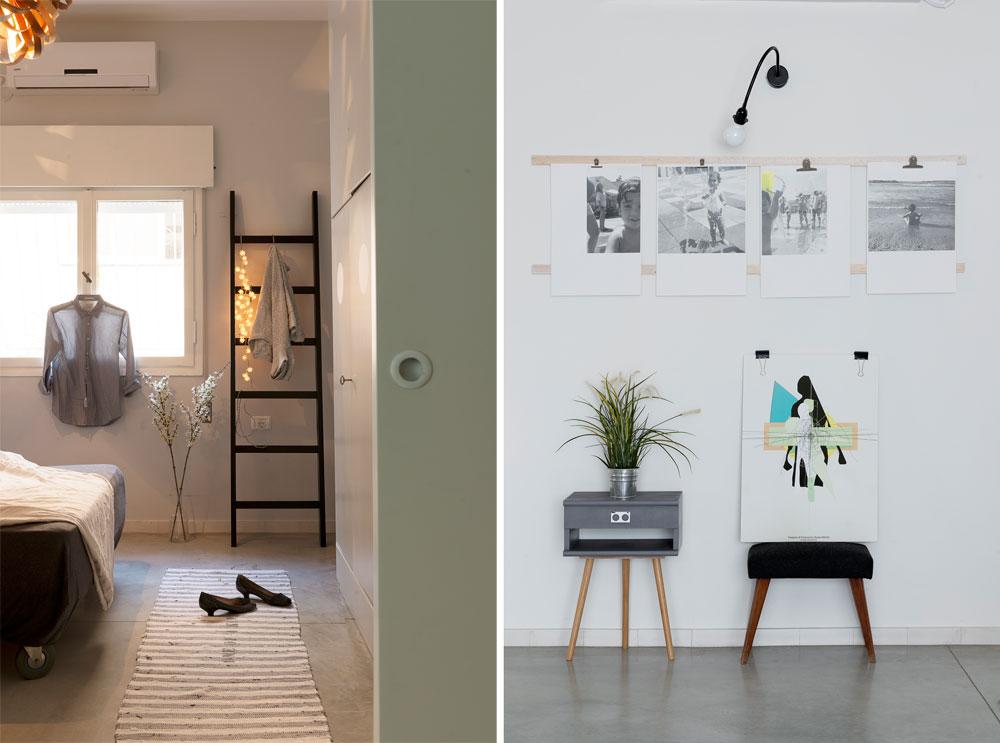 מימין: מעין גלריה מאולתרת של צילומי הילדים, שיצרו המעצבות כמבואה לדירה. משמאל: מבט מהסלון לחדר ההורים. ליד הסולם השחור יש כניסה לחדר הרחצה שלהם (צילום: גדעון לוין)