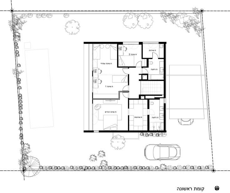 תוכנית קומת המגורים, עם חדר אורחים קטן, יחידת הורים וחדר ילדים עצום, שבעתיד יחולק לשניים (תכנון: תמר יניב יעקבס)