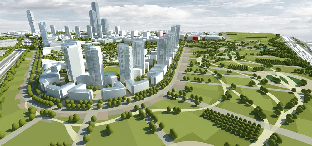 הפארק והאזור מוטה המגורים בהצעה שזכתה בתחרות (תכנון: פרחי צפריר אדריכלים)