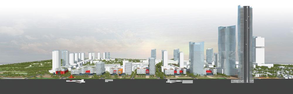 """חתך של """"קריית המסלול"""". ניתן לראות בו את המבנים התת-קרקעיים של המרכז הבינתחומי (תכנון: פרחי צפריר אדריכלים)"""