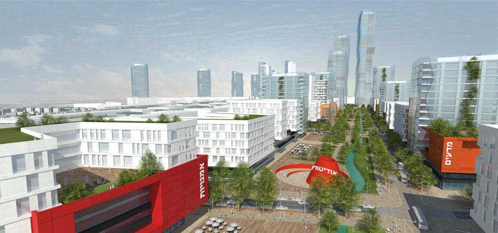 """ההצעה הזוכה של """"פרחי-צפריר"""": """"קריית המסלול"""", בנייני המרכז הבינתחומי והמגדלים ברקע (תכנון: פרחי צפריר אדריכלים)"""