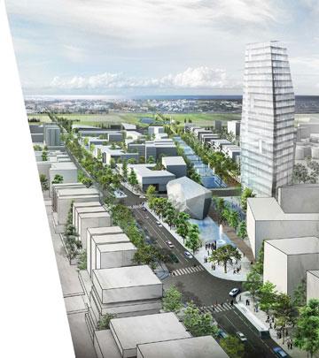 """מבט על ה""""דיאגונל"""" עם תעלת המים (מימין) (תכנון: אדר׳ טיירי מלו, אדר' בתיה סבירסקי מלול ואורנת שפירא אדריכלים)"""