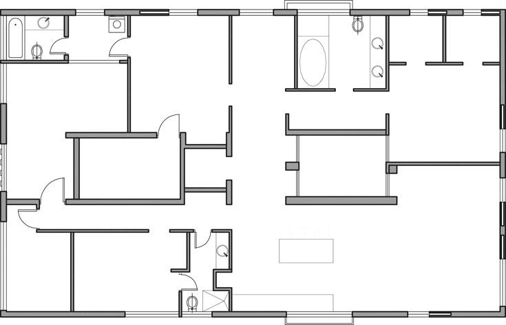 תוכנית הדירה לפני השיפוץ. במרכז הדירה שני פירים: האחד של חדר המדרגות והמעלית והשני פיר האוורור של הבניין (תכנון: אדריכלית טלי ג'רסי)