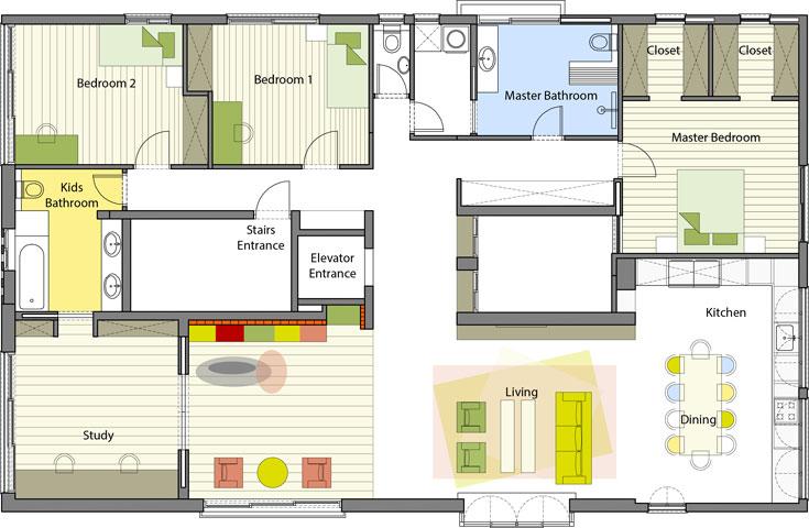 תוכנית השיפוץ: הדירה חולקה לשני אגפים, משני צדי הפירים. למטה בתוכנית המרחב המשותף, שכולל מטבח (מימין), סלון, אזור משחקים וחדר נוסף (שמחובר גם לחדר רחצה). בחלק העליון אגף ההורים (מימין. חלוקתו לא שונתה בשיפוץ), ושני חדרי ילדים (תכנון: אדריכלית טלי ג'רסי)