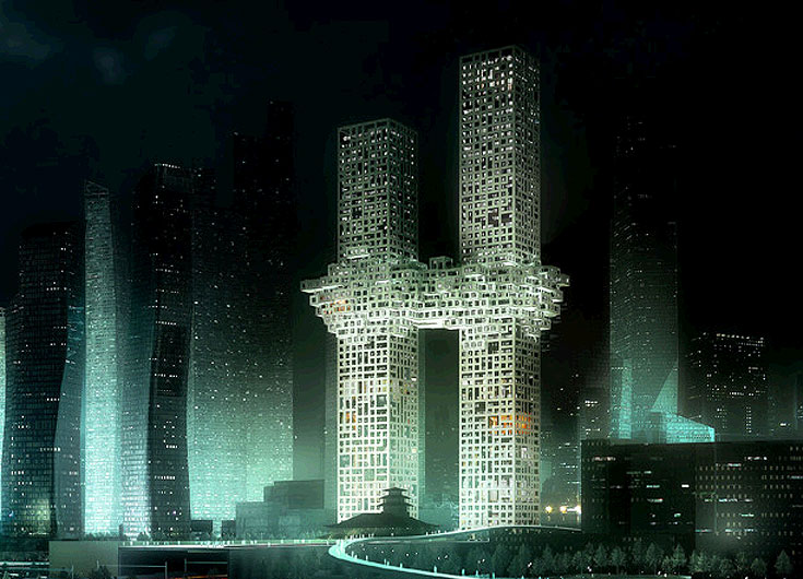 כך אמורים צמד המגדלים להיראות בלילה. עשרות הקוביות שמחברות ביניהם משתרעות על פני 10 קומות (הדמיה: MVRDV)