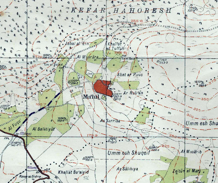 מעלול על מפה בריטית של אזור נצרת, משנת 1941