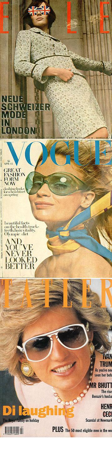 משקפיים של המותג על שערי מגזינים משנות ה-60 ועד ה-80, כולל על הנסיכה דיאנה. מתקדמים ומשתדרגים עם האופנה (באדיבות האתר הרשמי של אוליבר גולדסמית)