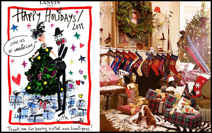 קמפיין חג המולד של טומי הילפיגר (מימין) וברכה של לנוון. משפחתיות אמריקאית קלאסית מול קריצה קונדסית