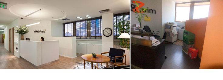 מימין: לובי הכניסה לחברה, לפני השיפוצים. משמאל: הלובי החדש. ''חיפשנו רהיטים ישנים בסגנון סקנדינבי, שכיכבו כאן בשנות ה-50'' (צילום: שי אפשטיין)