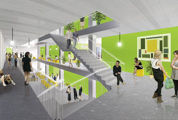 מדרגות רחבות במיוחד יוכלו לשמש כטריבונות לישיבה ולשיחה (הדמיה: StudioPeZ  דניאל זרחי, פדרו פנייה )