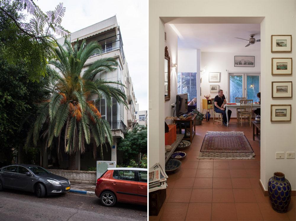 משמאל: חזית הבית. בניין תל אביבי טיפוסי, שלוש קומות על עמודים, בלי מעלית וחניה. משמאל: מבט מהכניסה לכיוון הסלון (צילום: אביעד בר נס)
