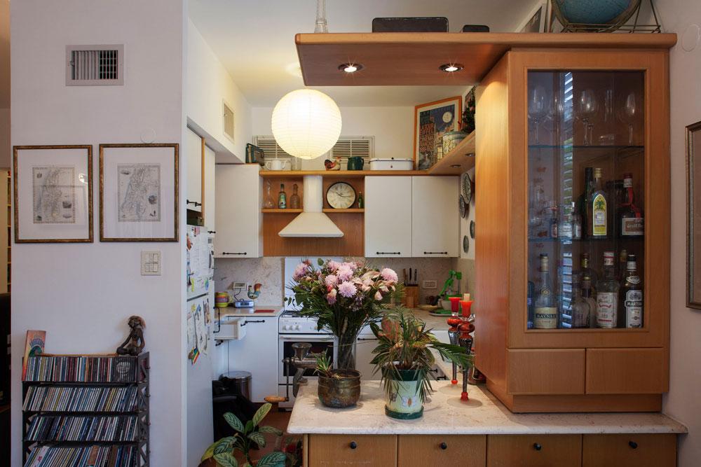 המטבח. הדירה שופצה על ידי הבעלים הקודמים, לפני יותר מ-11 שנה. ''אני מאוד מרוצה ממנה כפי שהיא'', אומר הורוביץ. לכל דבר יש מקום: מהמשקאות ועד הדיסקים (צילום: אביעד בר נס)