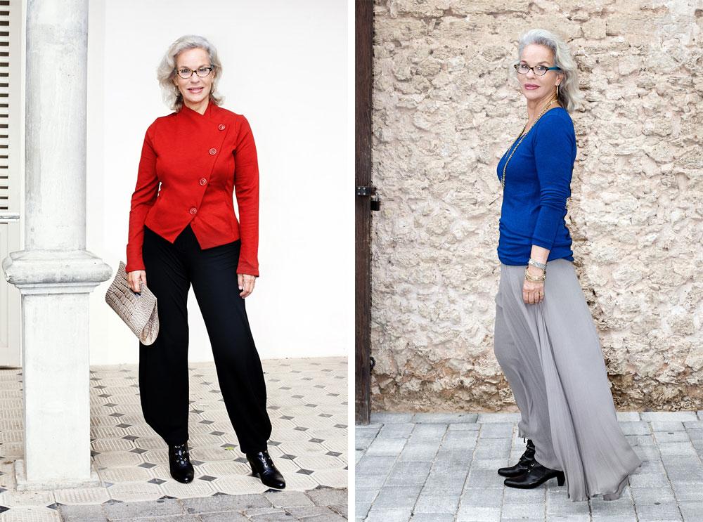 דניאלה פז-אורה בת ה-62 בבגדים של גרטרוד (מימין) ורונן חן. ''כל אישה יכולה להיות בסטייל וכל אישה יכולה להיות יפה, גם אלו שלא חושבות שהן יפות'' (צילום: ענבל מרמרי)