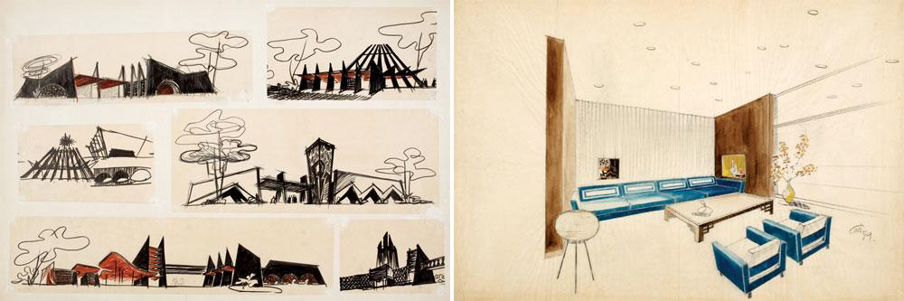 כמי שהחל בעיצוב במה ותפאורות באולפני הקולנוע הגרמניים, פנחל דיקדק בכל פרט. דוגמה לסקיצות המרהיבות שהוא השאיר אחריו (עיבוד תמונה: אבי חי)