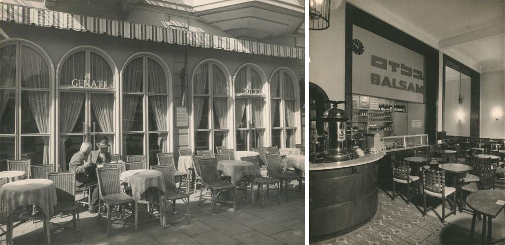 בתי קפה (בלזם וגינתי) בתל אביב בעיצוב פנחל. ''באו אליו אנשי האגודה של בעלי בתי הקפה בהצעה מוזרה: שיקבל מהם משכורת חודשית כדי לא להמשיך בעבודתו'' (עיבוד תמונה: אבי חי)