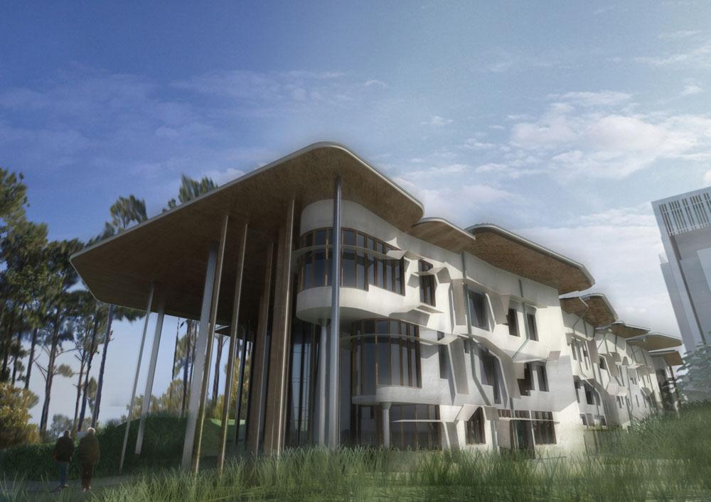 הדמיית הפקולטה לאדריכלות בת-קיימא באוניברסיטת בונד, אוסטרליה, בתכנונו של משרד CRAB של קוק ושותפו, גאווין רובות'אם (באדיבות פיטר קוק)