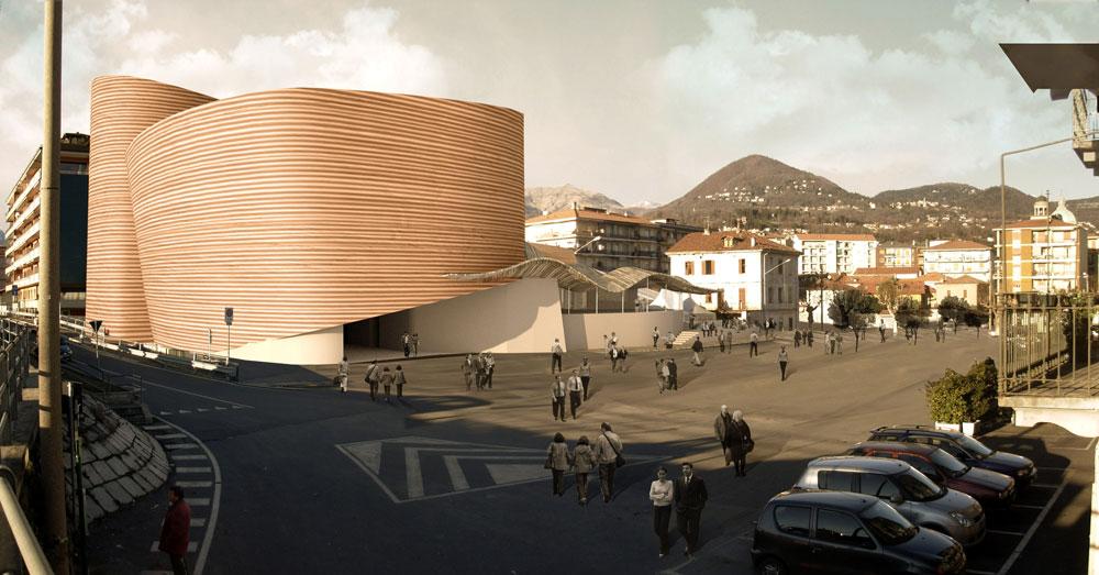 פרויקט שלא יצא לפועל: תיאטרון ורבאניה באיטליה. המשרד זכה בתחרות, והכין מבנה שיתייחס לסביבתו העתיקה עם חיפוי טרה-קוטה. אלא שהלקוח ביטל את הפרויקט (באדיבות פיטר קוק)
