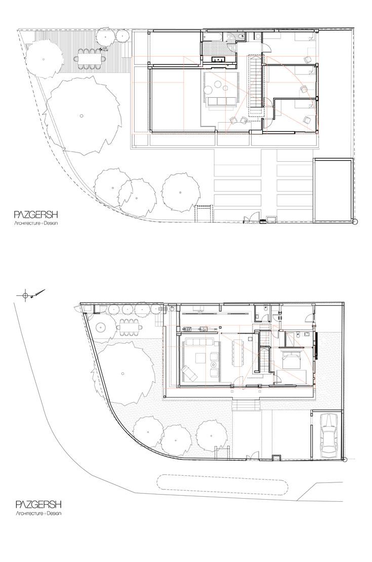 למעלה: תוכנית הקומה השנייה - שלושה חדרי ילדים, חדר רחצה ופינת משפחה שצופה על חלל הסלון. למטה: תוכנית קומת הכניסה, ששתיים מצלעותיה מוקפות מרפסת רחבה - סלון ומטבח ארוך שמקביל לו ולפינת האוכל, גרם מדרגות שמוביל למעלה ובצדו השני חדר השינה של ההורים, עם חדר רחצה צמוד. שטח הבית 200 מ''ר, ועוד 40 מ''ר לחניה הבנויה (באדיבות פז גרש אדריכלים)