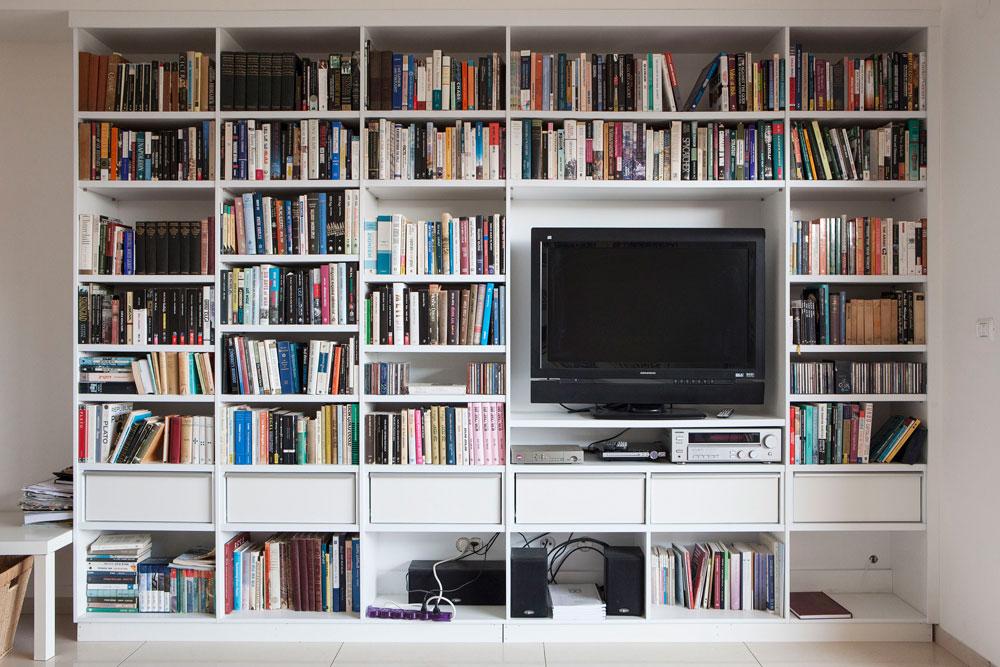 שמרית אשתו עיצבה את הדירה. רק בדבר אחד התערב: ''שיהיה מקום בסלון לספרים שלי, שהם חלק מרכזי בזהות שלי''. מהדורה של כל כתבי אפלטון, שתרגם סבו, למשל (צילום: אביעד בר נס)
