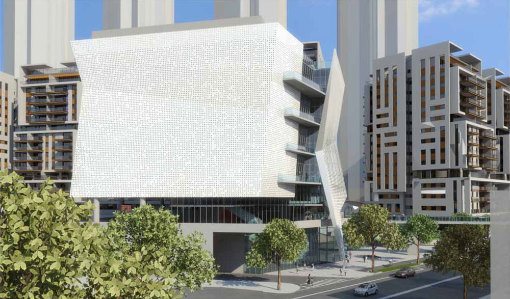 חמישה אדריכלים הוזמנו מטעם העירייה להשתתף בתחרות הסגורה, והנה אחת ההצעות שלא התקבלה, של גרובמן-אדריכלים וחן-אדריכלים (הדמיה: גרובמן אדריכלים, חן אדריכלים)